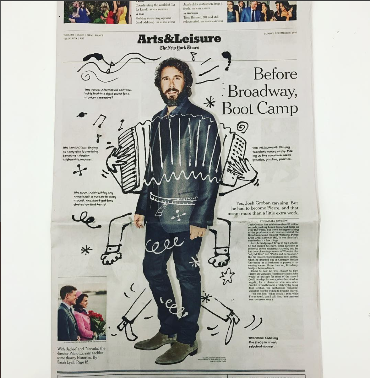 Josh Featured On Arts & Leisure NY Times - Josh Groban